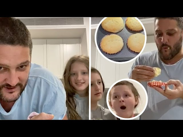 Brendan Fevola BAKES Whilst In Self Isolation With Daughters In Hilarious Video | Fifi, Fev & Byron