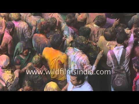Hindus celebrate Holi at Banke Bihari Temple, Vrindavan