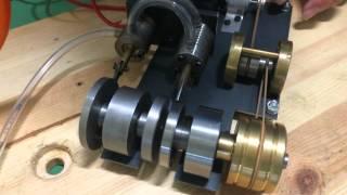 復動式蒸気機関を圧縮空気で動作試験してみた。