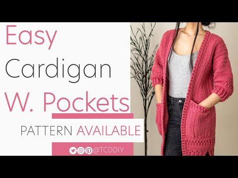 Crochet Cardigan with Pockets | Pattern \u0026 Tutorial DIY indir