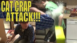 PSYCHO NEIGHBORS CAT CRAP ATTACK ON PSYCHO KID!!!