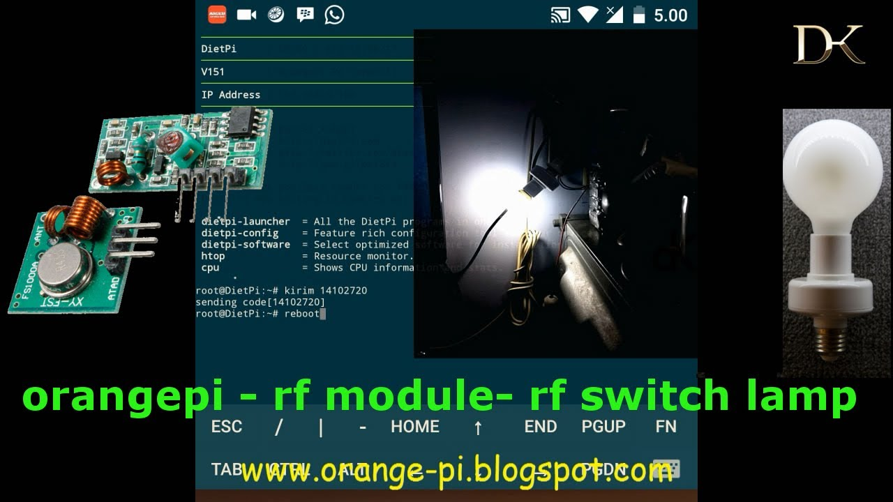 315/433 MHz RF orange pi PC wireles remote server