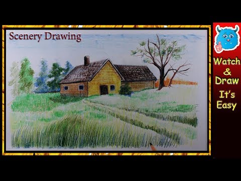 How to Draw Village Scenery Easy Drawing for Kids