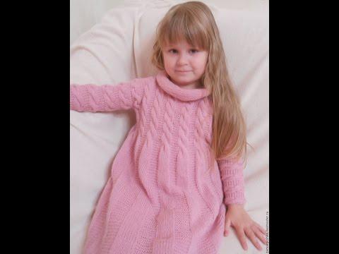 Вязаные платья для девочек спицами со схемами и описанием на 5 лет