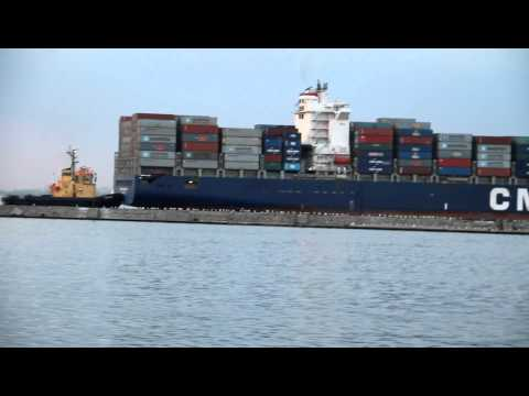 Large container ship leaves the Port of Odessa (CMA CGM DEBUSSY)