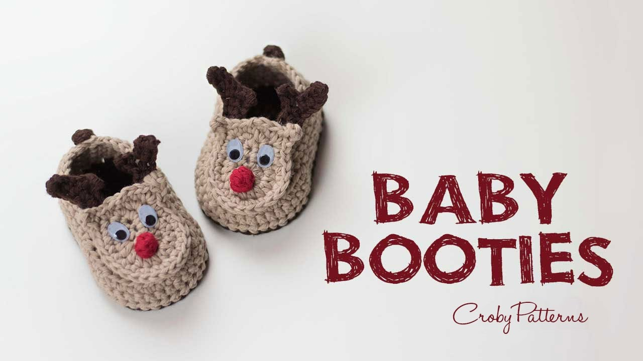 How to Crochet Reindeer Baby Booties Easy Tutorial | Croby Patterns ...