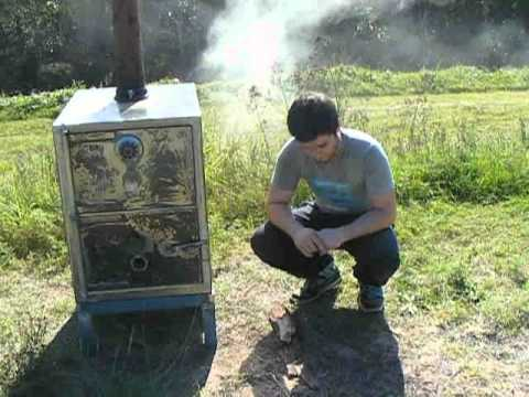 Homemade Log burning woodstove made from a safe - YouTube