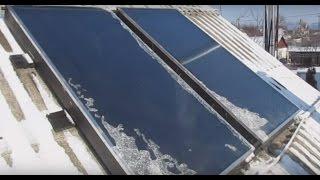 Как работают солнечные коллекторы зимой в сильный мороз.  How do solar collectors in winter.