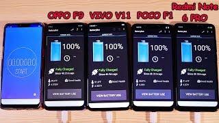 OPPO F9 vs VIVO V11 Vs POCOPHONE F1 Vs Redmi Note 6 Pro Battery Test