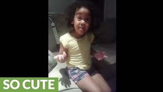 Toddler tries to explain why she can't stop crying