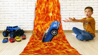 Mark rescues his kids cars from lava
