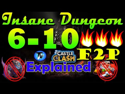 Castle Clash - Insane Dungeon 6-10 3 Flamed Without Ghoulem,val,nick[F2P] | Explained Everything