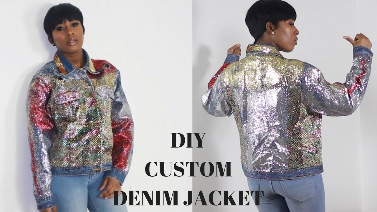 Diy Custom Denim Glitter Jacket Youtube