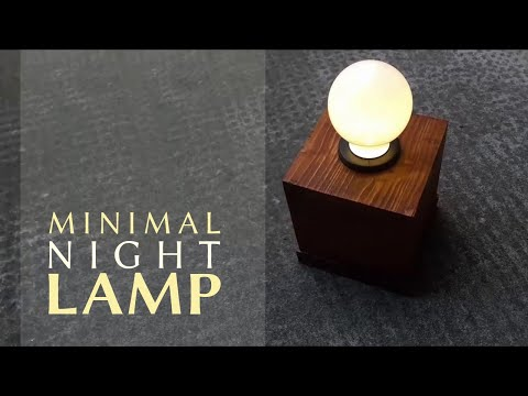 How to make a minimal LED lamp with a wooden base | DIY portable night light from scrapwood