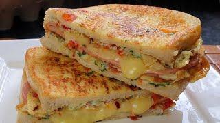 Cheese Egg Toast Breakfast Recipe | One Pan Egg Toast | Omelette Sandwich | Food Ocean