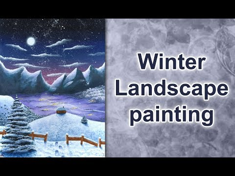 Painting a winter wonderland fantasy landscape in acrylics