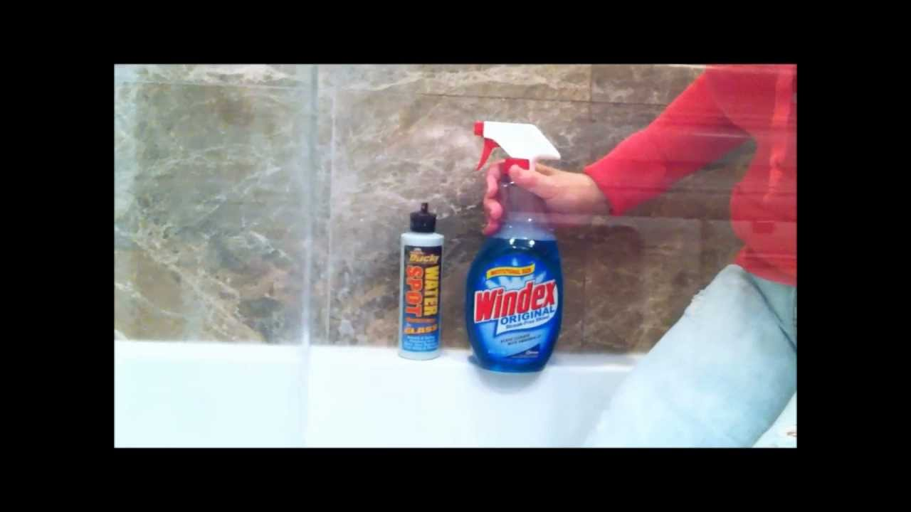 How to remove hard water spots from shower doorsglass by using how to remove hard water spots from shower doorsglass by using ducky water spot remover for glass youtube planetlyrics Images