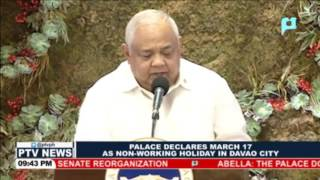 Palace declares March 17 as Non-Working Holiday in Davao City