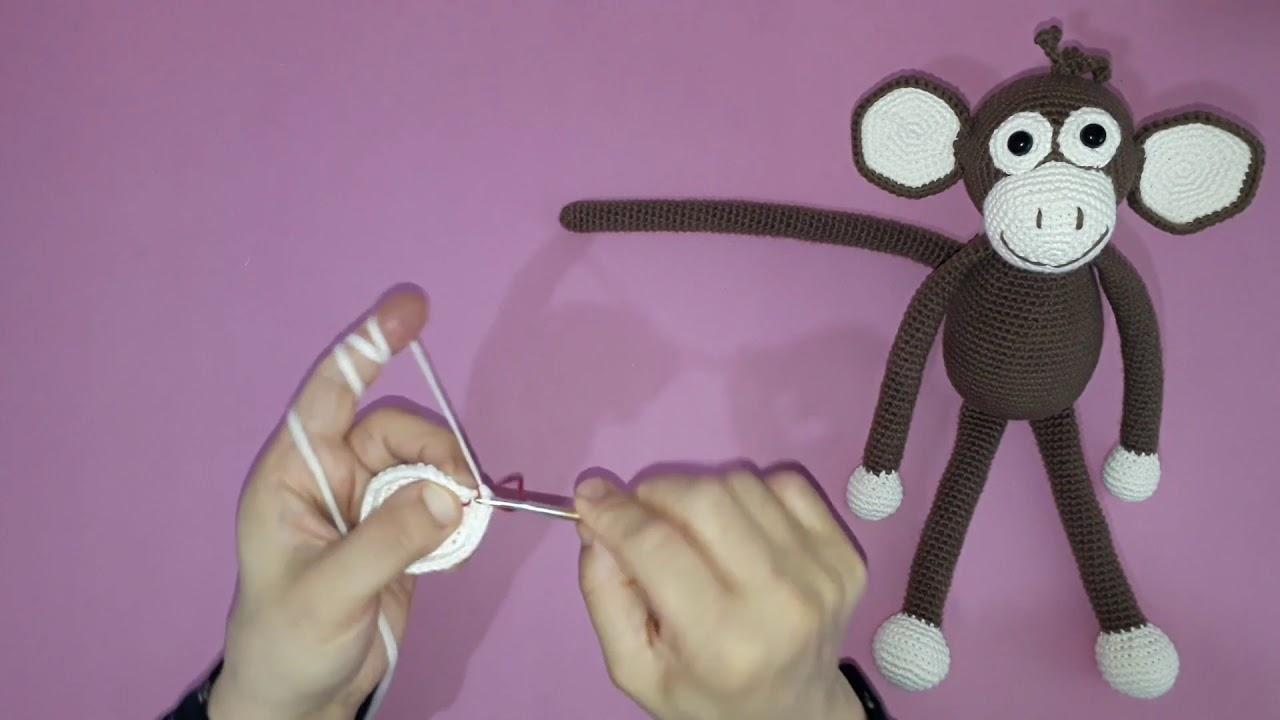Amigurumi maymun yapımı örgü oyuncak maymun yapılışı amigurumi maymun burun yapımı -07