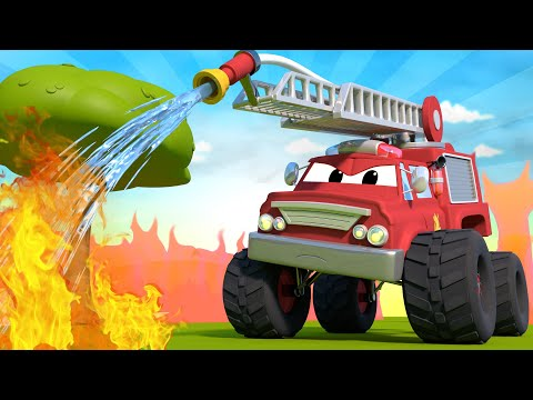 Monster Town - Dangerous Bottle !  Monster Trucks Cartoon for Children
