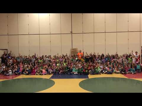 Mr. Peace Posing For Pic With Students At Whitmore Lake Elementary School (Whitmore Lake, Michigan)