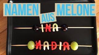 Buchstaben Frucht-Spieß aus Melone