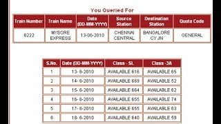 Check Seat Availability & Train Availability in Indian Railways (IRCTC ) without logging in