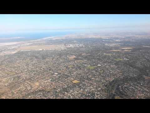 Qantas Flight, Flying Over Adelaide, Australia.