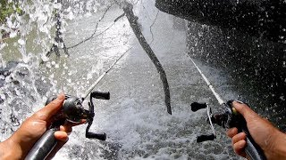 FISHING UNDER A GIANT WATERFALL!!! (BIG SURPRISE FISH)