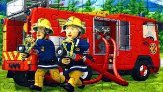 Пожарный Сэм и Пенни спешат на помощь - собираем пазлы для детей с героями мультфильма  Fireman Sem