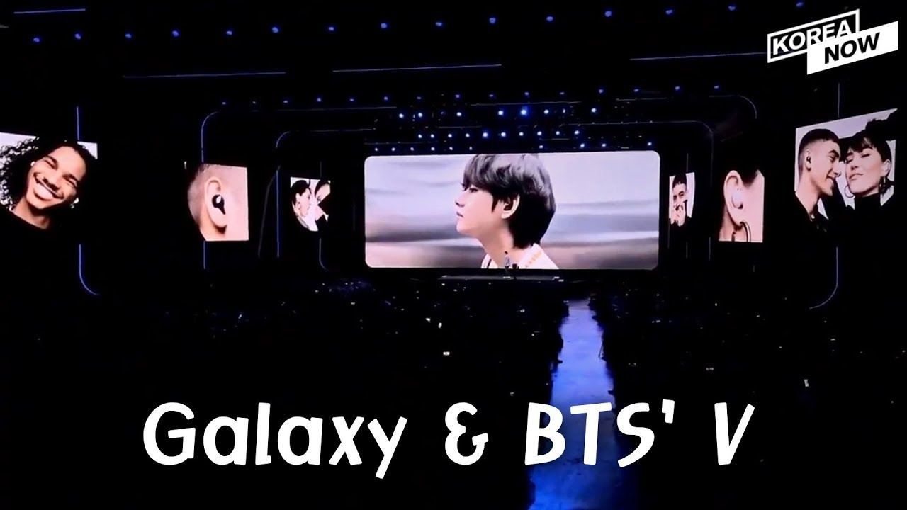 Galaxy Unpacked 2020 Bts V Spotted On The Screen Wearing Galaxy Buds 2 Youtube