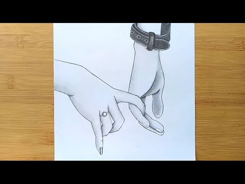 Romantic Couple Holding Hands pencil sketch || How to draw Holding Hands thumbnail