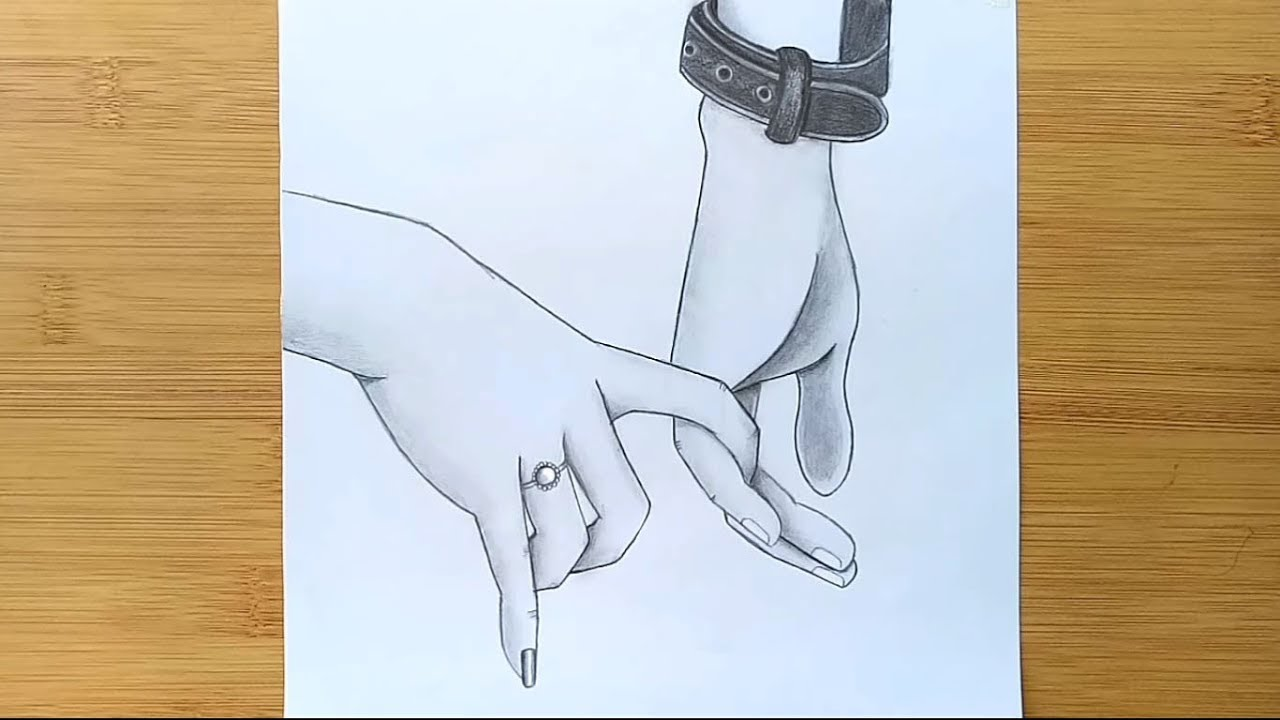 Romantic couple holding hands pencil sketch how to draw holding hands farjana drawing academy