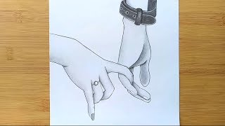 Romantic Couple Holding Hands pencil sketch || How to draw Holding Hands