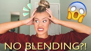 FULL FACE OF MAKEUP WITHOUT BLENDING CHALLENGE