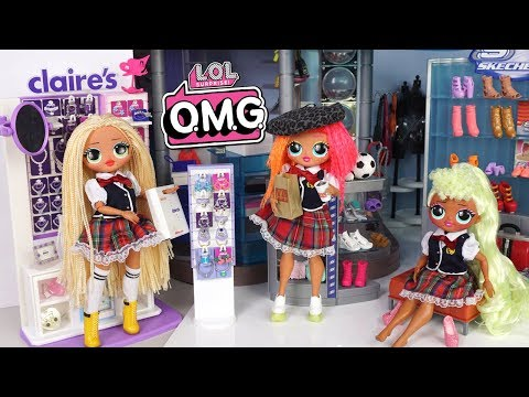 LOL OMG Doll Family School Evening Routine - Mall Shopping, Homework, Chores