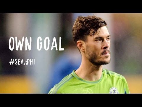 OWN GOAL: Brad Evans just gets a touch on the ball to trick Frei
