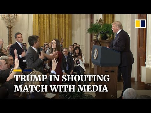 Donald Trump clashes with media at chaotic midterm election