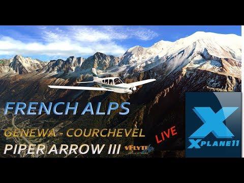 X PLANE 11, LIVE, ALPY ORTHO4XP, GENEVA-COURCHEVEL & PIPER ARROW III