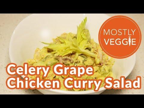 Celery Grape Chicken Curry Salad - Healthy Recipe