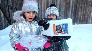 Make Slime in the Snow Challenge! kids fun videos