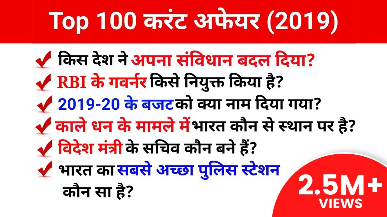 TOP 100 Current Affairs Question In Hind
