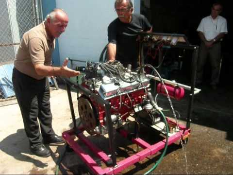 Manufactured Chevy small block 350 with 194 heads test on engine stand