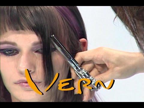 Short Haircuts With Long Purple Highlight Bangs