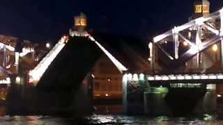 Развод Большого Охтинского моста Санкт-Петербург 29.06.2013