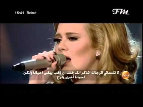 Adele   Someone Like You  live with lyrics translated in arabic  by jiji 480p