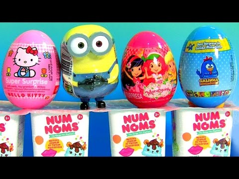 Strawberry Shortcake Toy Surprise, Num Noms, Hello Kitty, Galinha Pintadinha Egg Surprise