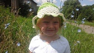 Летняя шапочка для девочки крючком&Summer girls crochet cap