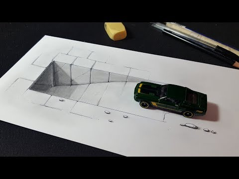 Easy Trick Art with Toy Car and 3D Tunnel Drawing for Kids