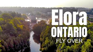 Drone Footage (Raw) Elora Ontario downtown on a foggy summer morning
